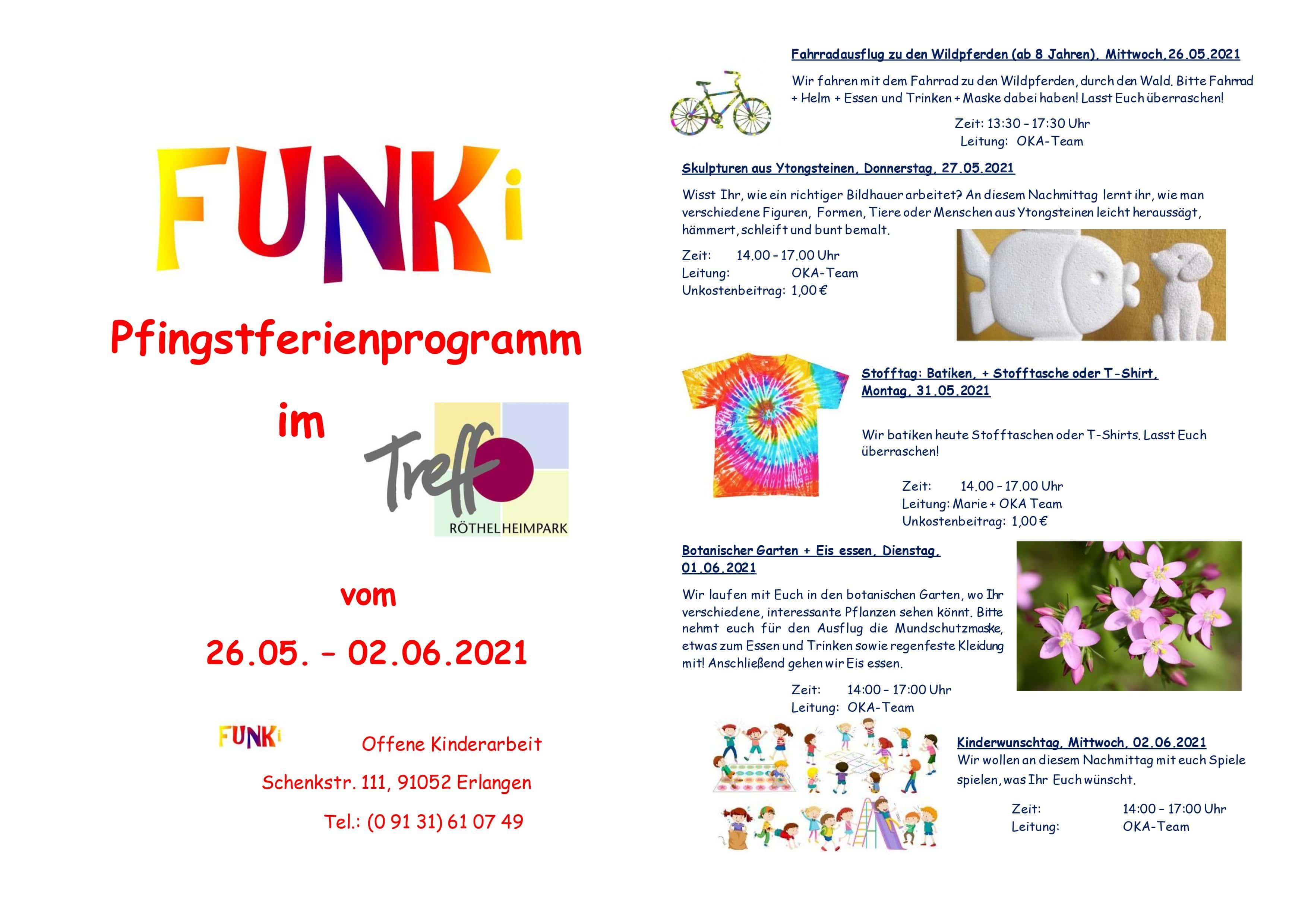 Übersicht Pfingstferienprogramm vom 26.05. bis 02.06.2021